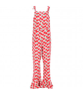 STELLA MCCARTNEY KIDS Pink girl jampsuit with colorful all-over cherries