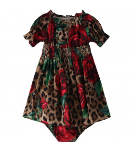 DOLCE & GABBANA KIDS Colorful babygirl ddress with red roses