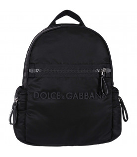 DOLCE & GABBANA KIDS Black boy backpack with black logo