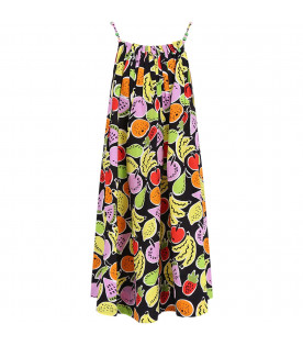 STELLA MCCARTNEY KIDS Black girl dress with colorful all-over fruits