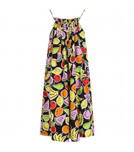 STELLA MCCARTNEY KIDS Abio nero per bambina con frutta colorata all-over
