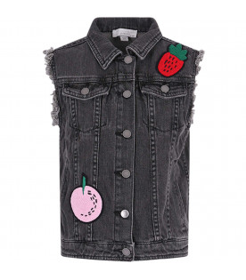 STELLA MCCARTNEY KIDS Grey girl gilet with colorful patches