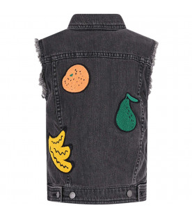 STELLA MCCARTNEY KIDS Gilet grigio per bambina con patch colorati
