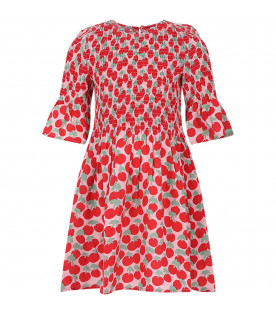 STELLA MCCARTNEY KIDS Pink girl dress with red cherries