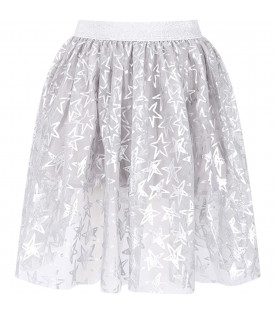 STELLA MCCARTNEY KIDS Grey girl skirt with silver all-over stars