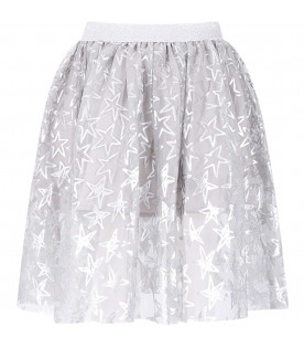 STELLA MCCARTNEY KIDS Gonna grigia per bambina con cuori argentati