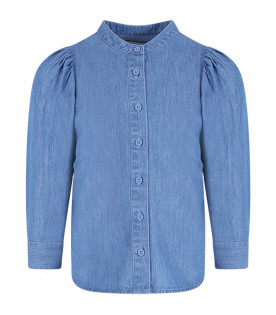STELLA MCCARTNEY KIDS Denim light blue girl shirt