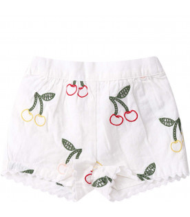 STELLA MCCARTNEY KIDS White babygirl short with colorful cherries