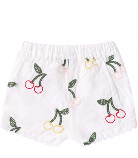 STELLA MCCARTNEY KIDS Short bianco per neonata con ciliegie colorate