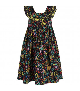 STELLA MCCARTNEY KIDS Black girl dress with colorful fruits