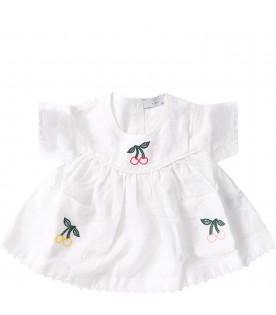 STELLA MCCARTNEY KIDS White babygirl blouse with colorful cherries