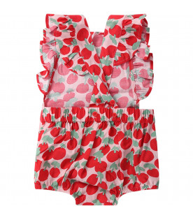 STELLA MCCARTNEY KIDS Tutina rosa per neonata con ciliegie colorate