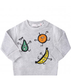 STELLA MCCARTNEY KIDS Felpa grigia per neonati con patch colorati
