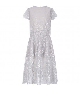 STELLA MCCARTNEY KIDS Grey girl dress with silver all-over stars