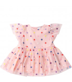 STELLA MCCARTNEY KIDS Pink babygirl dress with colorful all-over hearts