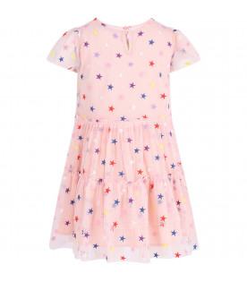 STELLA MCCARTNEY KIDS Pink girl dress with colorful all-over hearts
