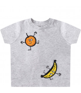 STELLA MCCARTNEY KIDS T-shirt grigia per neonati con patch colorati