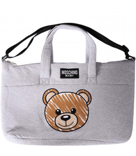 MOSCHINO KIDS Grey babykids changing bag with iconic Teddy Bear