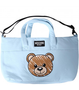 MOSCHINO KIDS Light blue babyboy changing bag with iconic Teddy Bear