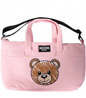 MOSCHINO KIDS Pink babygirl changing bag with iconic Teddy Bear