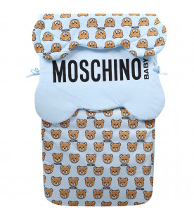 MOSCHINO KIDS Light blue babyboy sleeping bag with black logo