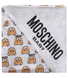 MOSCHINO KIDS Coperta grigia per neonati con all-over Teddy Bear
