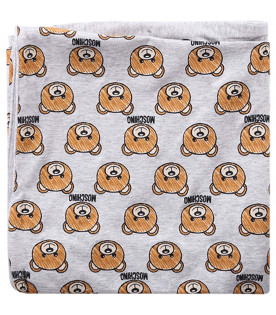 MOSCHINO KIDS Grey babykids blanket with all-over Teddy Bears