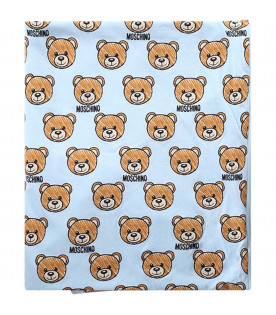 MOSCHINO KIDS Light blu babyboy blanket with all-over Teddy Bears