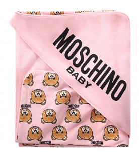 MOSCHINO KIDS Pink babygirl blanket with all-over Teddy Bears