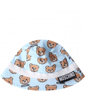 MOSCHINO KIDS Light blue babyboy sun hat
