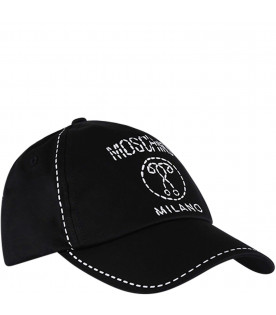 MOSCHINO KIDS Black kids hat with white logo