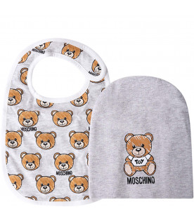 MOSCHINO KIDS Grey babykids set with colorful Teddy Bear