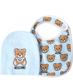 MOSCHINO KIDS Light blue babyboy set with colorful Teddy Bear