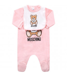 MOSCHINO KIDS Pink babygirl set with colorful Teddy Bear