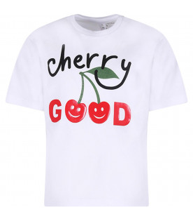 STELLA MCCARTNEY KIDS White girl T-shirt with red cherries
