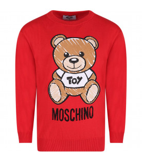 MOSCHINO KIDS Red girl sweater with colorful teddy Bear
