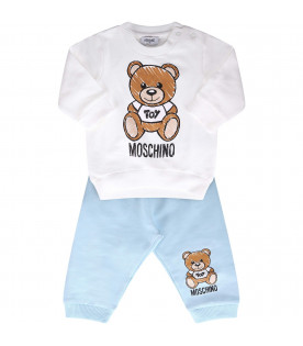MOSCHINO KIDS White and light blue babyboy suit with black logo