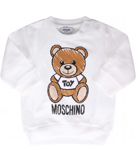 MOSCHINO KIDS White and pink babygirl suit with black logo
