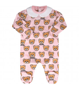 MOSCHINO KIDS Tutina rosa per neonata con Teddy bear colorati