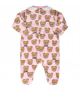 MOSCHINO KIDS Pink babygirl babygrow with colorful Teddy Bears
