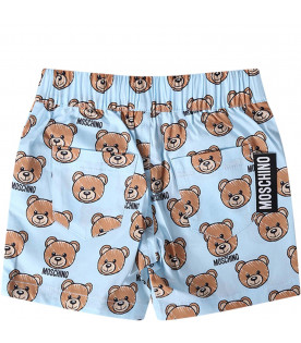 MOSCHINO KIDS Light blue babyboy short with colorful Teddy Bear