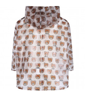 MOSCHINO KIDS Transparent kids cape with colorful Teddy Bear