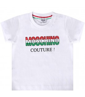 MOSCHINO KIDS White babyboy T-shirt with colorful logo