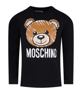MOSCHINO KIDS Black girl T-shirt with colorful teddy Bear