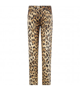MOSCHINO KIDS Animalier printed girl pants