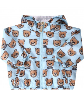 MOSCHINO KIDS Light blue babyboy windbreaker jackest with iconic Teddy Bear