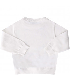 MOSCHINO KIDS White babykids sweater with colorful teddy Bear