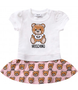 MOSCHINO KIDS White and pink babygirl dress with iconic Teddy Bears