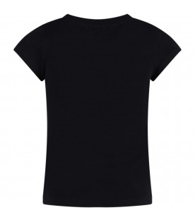 MOSCHINO KIDS Black girl T-shirt with white logo