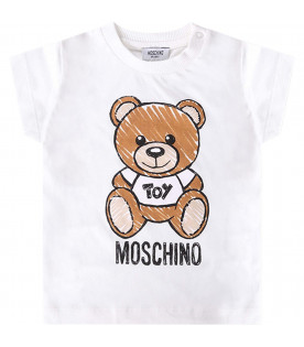 MOSCHINO KIDS T-shirt bianca per neonati con Teddy Bear colorato